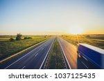 sunset at motorway highway...   Shutterstock . vector #1037125435