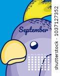 cute parakeet calendar cartoon | Shutterstock .eps vector #1037127352