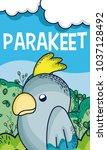 cute parakeet in forest cartoon | Shutterstock .eps vector #1037128492