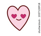 line color cute in love heart...   Shutterstock .eps vector #1037128918