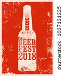 beer fest 2018 typographical... | Shutterstock .eps vector #1037131225
