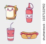 fast food collection kawaii... | Shutterstock .eps vector #1037132902