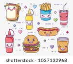 fast food collection kawaii...   Shutterstock .eps vector #1037132968