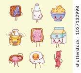 cute breakfast kawaii cartoons | Shutterstock .eps vector #1037132998