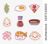 japanese gastronomy cute kawaii ... | Shutterstock .eps vector #1037133052