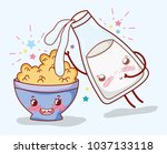 cornflakes bowl and milk bottle ... | Shutterstock .eps vector #1037133118