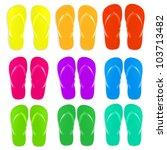9 flip flops set  isolated on... | Shutterstock .eps vector #103713482