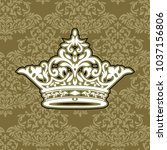 vector luxury gold ornament... | Shutterstock .eps vector #1037156806