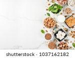 Stock photo healthy diet vegan food veggie protein sources tofu vegan milk beans lentils nuts soy milk 1037162182