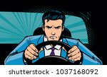 aggressive driver behind the... | Shutterstock .eps vector #1037168092