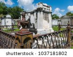 detail of a tomb at the... | Shutterstock . vector #1037181802