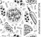 italian cuisine seamless... | Shutterstock .eps vector #1037187196