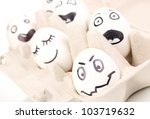 white eggs with funny faces   Shutterstock . vector #103719632
