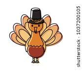 cartoon turkey with pilgrim hat ... | Shutterstock .eps vector #1037200105