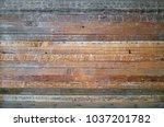 wall made of reclaimed wooden... | Shutterstock . vector #1037201782