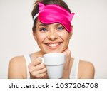happy woman morning time... | Shutterstock . vector #1037206708