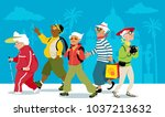 group of active senior tourists ... | Shutterstock .eps vector #1037213632