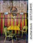 rustic carribean style table... | Shutterstock . vector #1037218495