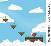 pixelated game scenery | Shutterstock .eps vector #1037221252