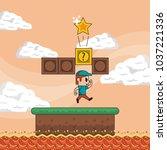 pixelated game scenery | Shutterstock .eps vector #1037221336