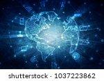 2d illustration network... | Shutterstock . vector #1037223862