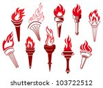 Flaming Retro Torches Isolated...