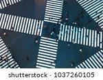 aerial view of people crossing...   Shutterstock . vector #1037260105