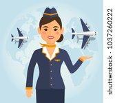 stewardess woman in uniform  on ... | Shutterstock .eps vector #1037260222
