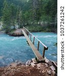 A footbridge on the trail to Berg Lake in Mt Robson Provincial Park in British Columbia
