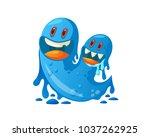 cute cheerful virus  bacteria...   Shutterstock .eps vector #1037262925