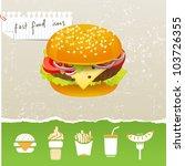 Stylized Fast Food Icons Set
