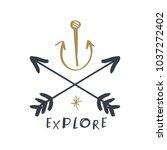 hand drawn navy logo  anchor...   Shutterstock .eps vector #1037272402
