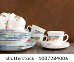 a set of dishes for table... | Shutterstock . vector #1037284006