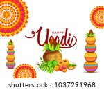 illustration of ugadi with... | Shutterstock .eps vector #1037291968