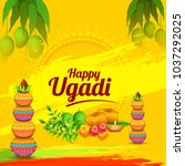 illustration of ugadi with... | Shutterstock .eps vector #1037292025