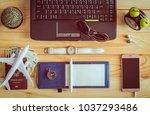 top view of notebook  pen ...   Shutterstock . vector #1037293486