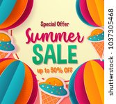 summer sale banner template for ... | Shutterstock .eps vector #1037305468