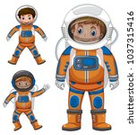 three kids in astronaut outfit... | Shutterstock .eps vector #1037315416