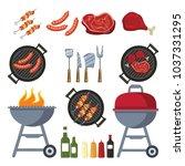 barbecue and grill set for home ... | Shutterstock .eps vector #1037331295