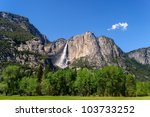 Yosemite Great Falls, the tallest falls in USA. - stock photo