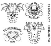 set of skateboarding emblems in ... | Shutterstock .eps vector #1037340568