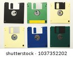 old floppy disks isolated on... | Shutterstock . vector #1037352202