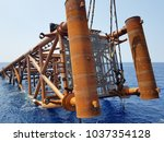 oil and gas jacket during... | Shutterstock . vector #1037354128