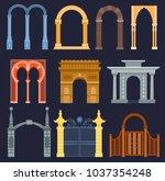 arch gate vector house exterior ... | Shutterstock .eps vector #1037354248