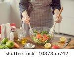 healthy nutrition salad...   Shutterstock . vector #1037355742