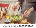 healthy nutrition salad...   Shutterstock . vector #1037355748