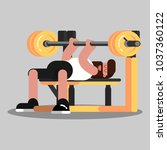 guy makes the bench press | Shutterstock .eps vector #1037360122