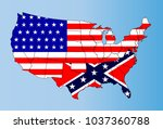 An outline map of TheUnited States of America showing the confederate states against the confederate flag