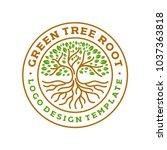 tree roots circle logo badge... | Shutterstock .eps vector #1037363818