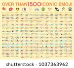 Set of over than 1500 emoji, vector illustration icons. Human, sport, transportation, flags of the world, wear, food, time, horoscope, tools, emoticons. Set of 1000 Minimalistic Solid Line Colored | Shutterstock vector #1037363962
